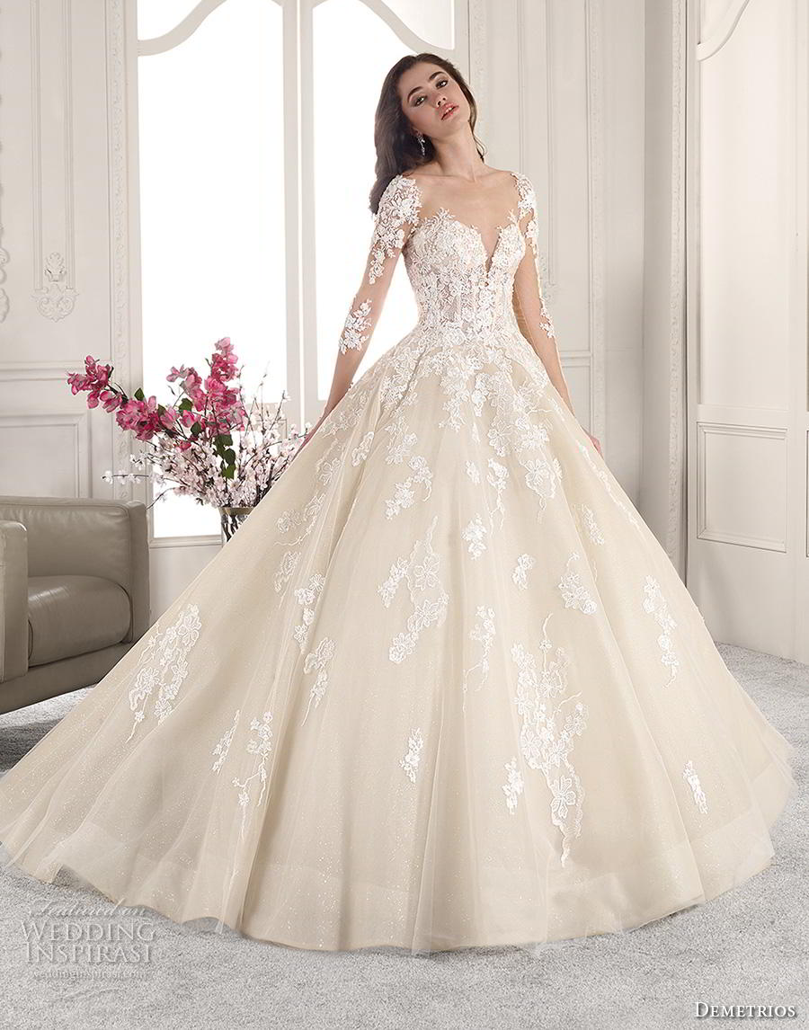 demetrios 2019 starlight bridal long sleeves sweetheart neckline heavily embellished bodice princess ball gown a  line wedding dress backless v back chapel train (1) mv