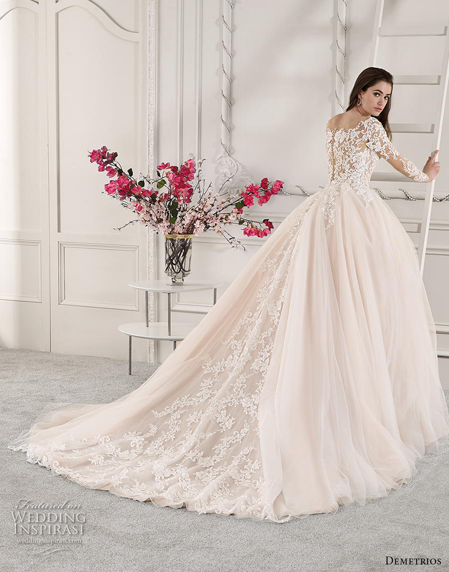 demetrios 2019 starlight bridal long sleeves v neck heavily embellished bodice tulle skirt princess romantic blush ball gown a  line wedding dress lace back royal train (5) bv