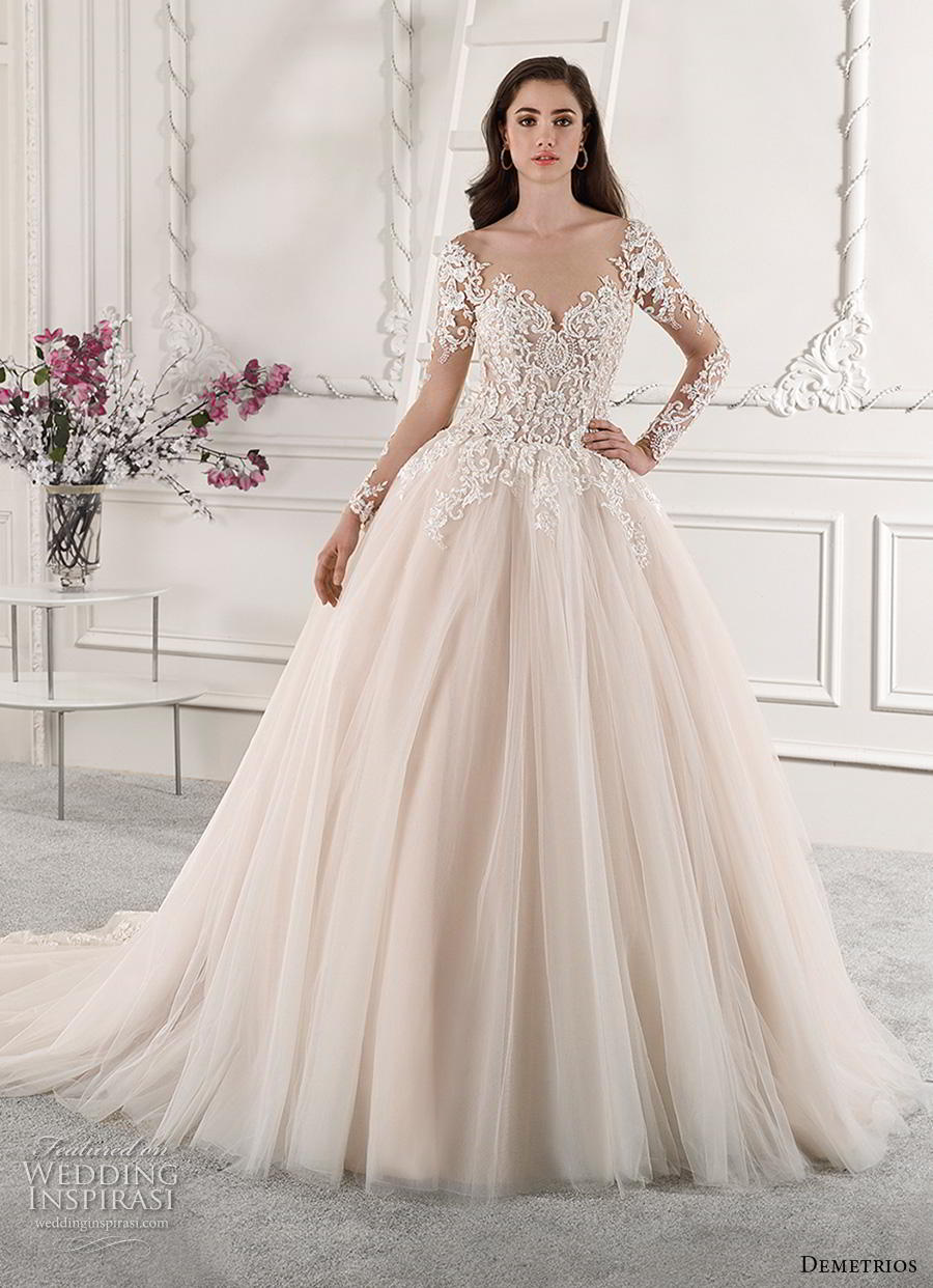 demetrios 2019 starlight bridal long sleeves v neck heavily embellished bodice tulle skirt princess romantic blush ball gown a  line wedding dress lace back royal train (5) mv