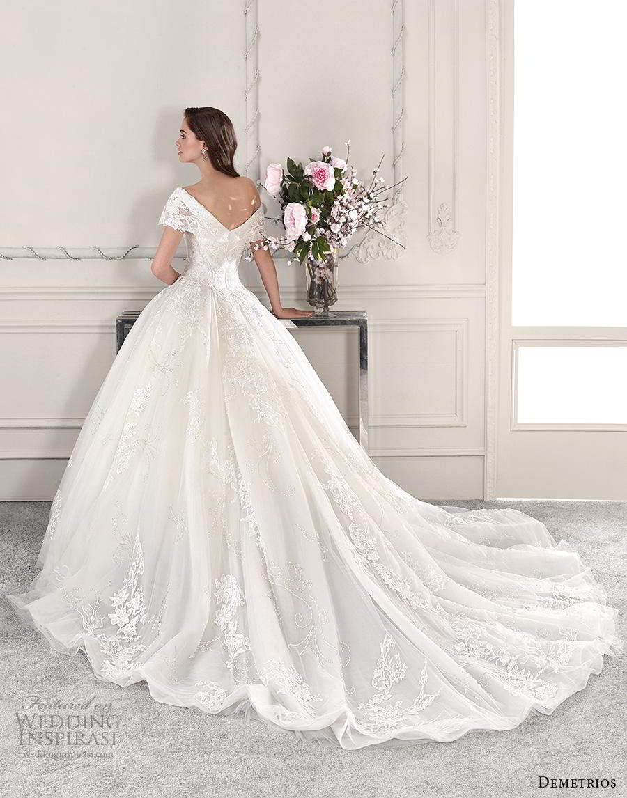 demetrios 2019 starlight bridal off the shoulder sweetheart neckline heavily embellished bodice romantic princess ball gown a  line wedding dress royal train (11) bv