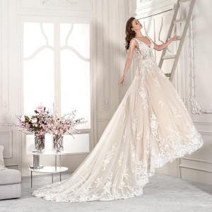 demetrios 2019 starlight bridal sleeveless v neck heavily embellished bodice romantic blush a  line wedding dress backless v back royal train (17) bv mv