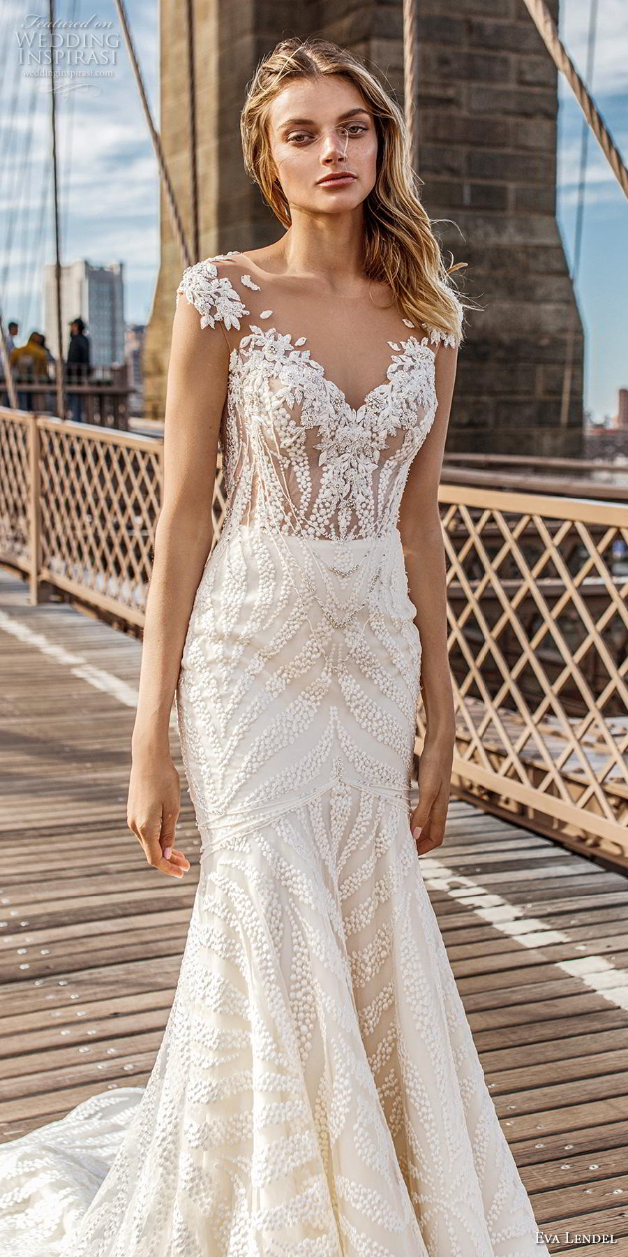 eva lendel 2019 bridal cap sleeves illusion bateau v neck full embellishment elegant trumpet wedding dress keyhole back chapel train (6) lv