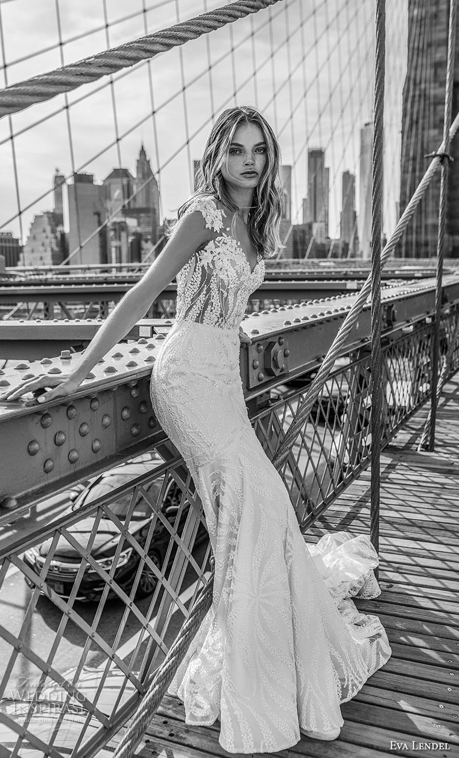 eva lendel 2019 bridal cap sleeves illusion bateau v neck full embellishment elegant trumpet wedding dress keyhole back chapel train (6) sdv