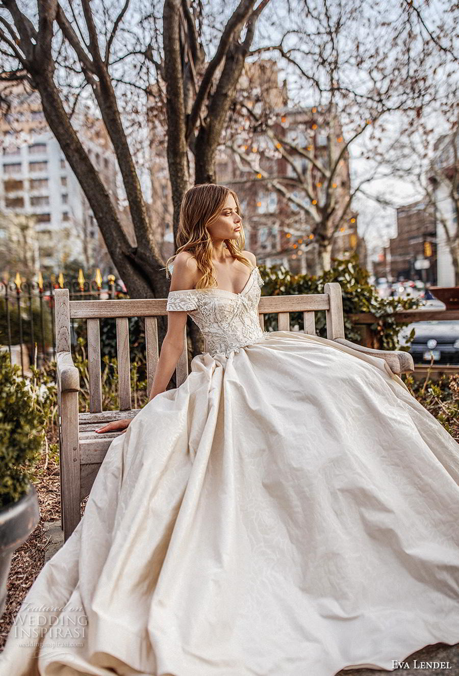 eva lendel 2019 bridal off the shoulder sweetheart neckline heavily embellished bodice princess ball gown a  line wedding dress chapel train (1) mv