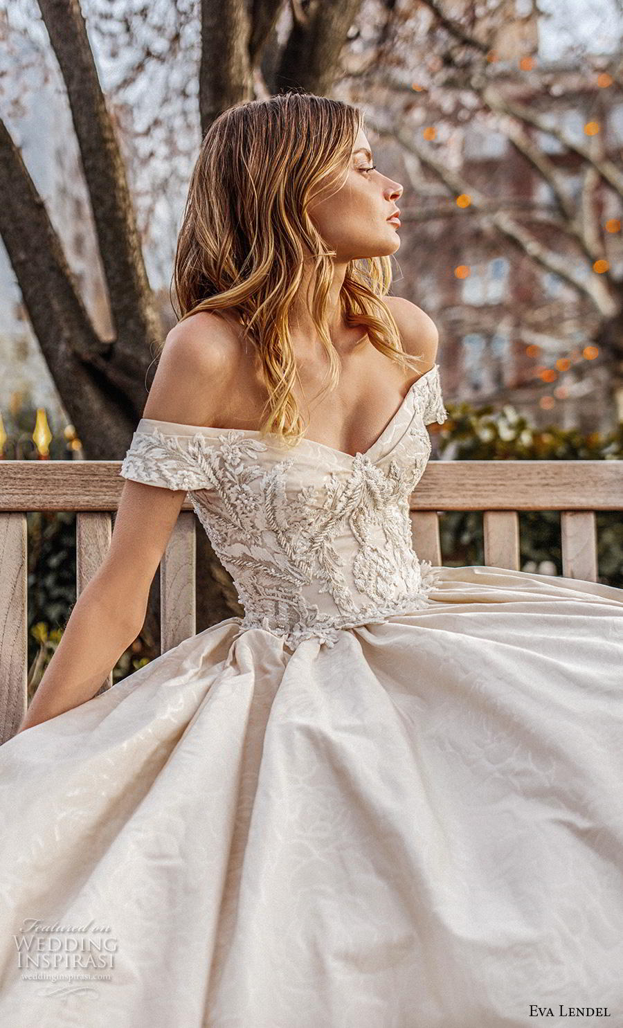 eva lendel 2019 bridal off the shoulder sweetheart neckline heavily embellished bodice princess ball gown a  line wedding dress chapel train (1) zv
