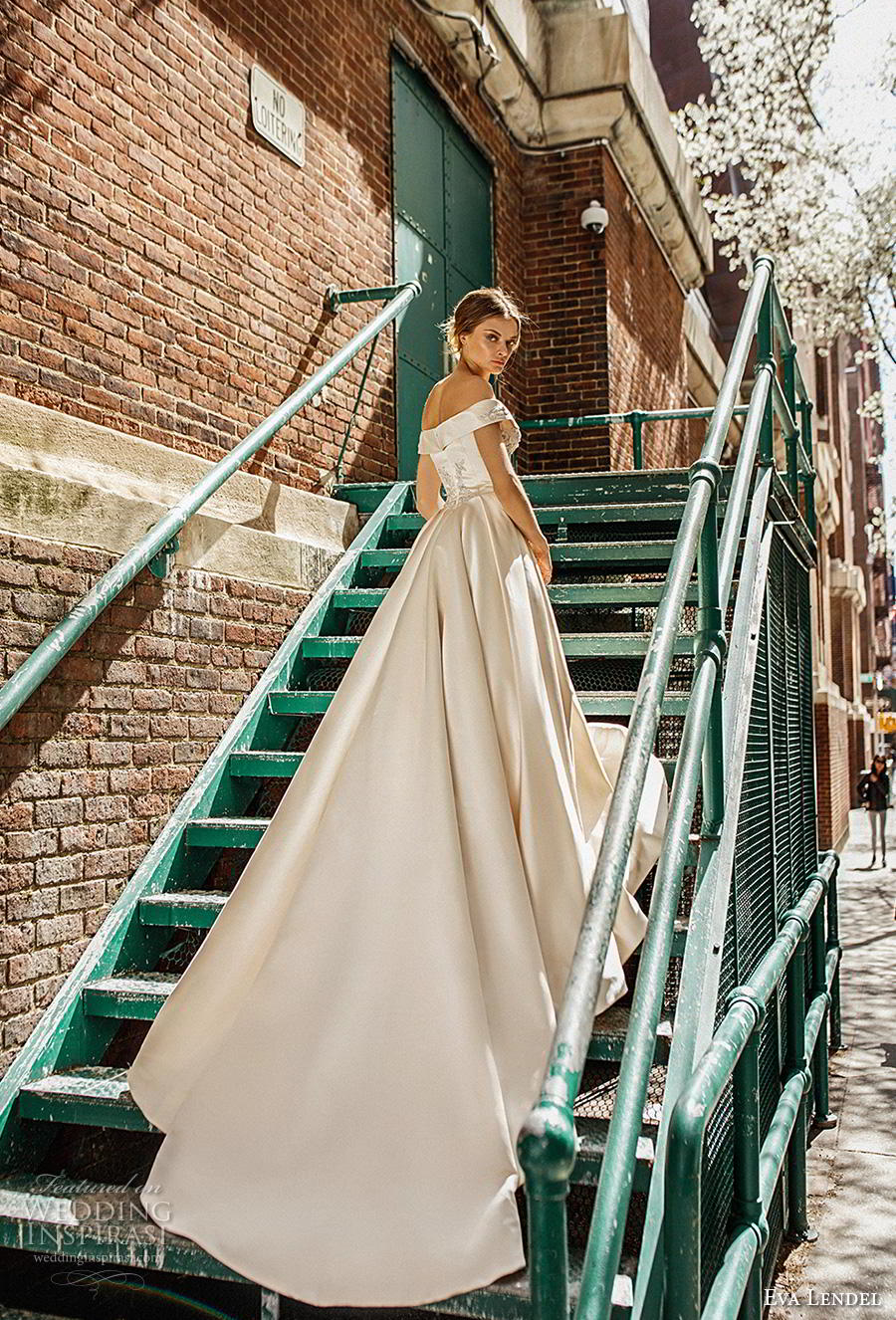 eva lendel 2019 bridal off the shoulder v neck heavily embellished bodice satin skirt princess ball gown a  line wedding dress chapel train (10) bv