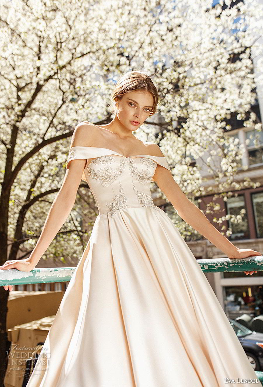 eva lendel 2019 bridal off the shoulder v neck heavily embellished bodice satin skirt princess ball gown a  line wedding dress chapel train (10) zv
