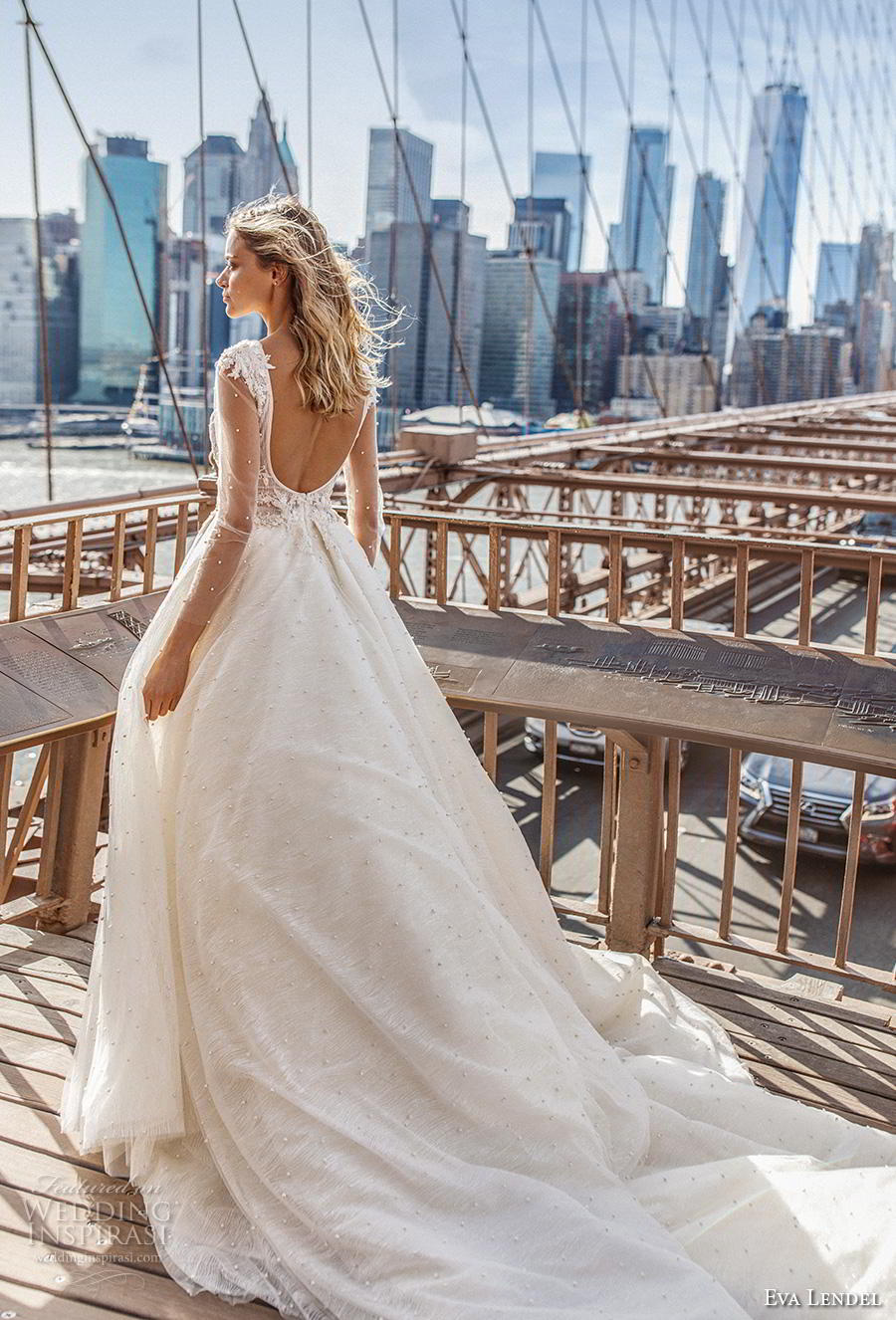 eva lendel 2019 bridal sheer long sleeves deep v neck heavily embellished bodice romantic ball gown a  line wedding dress backless v back long train (7) bv