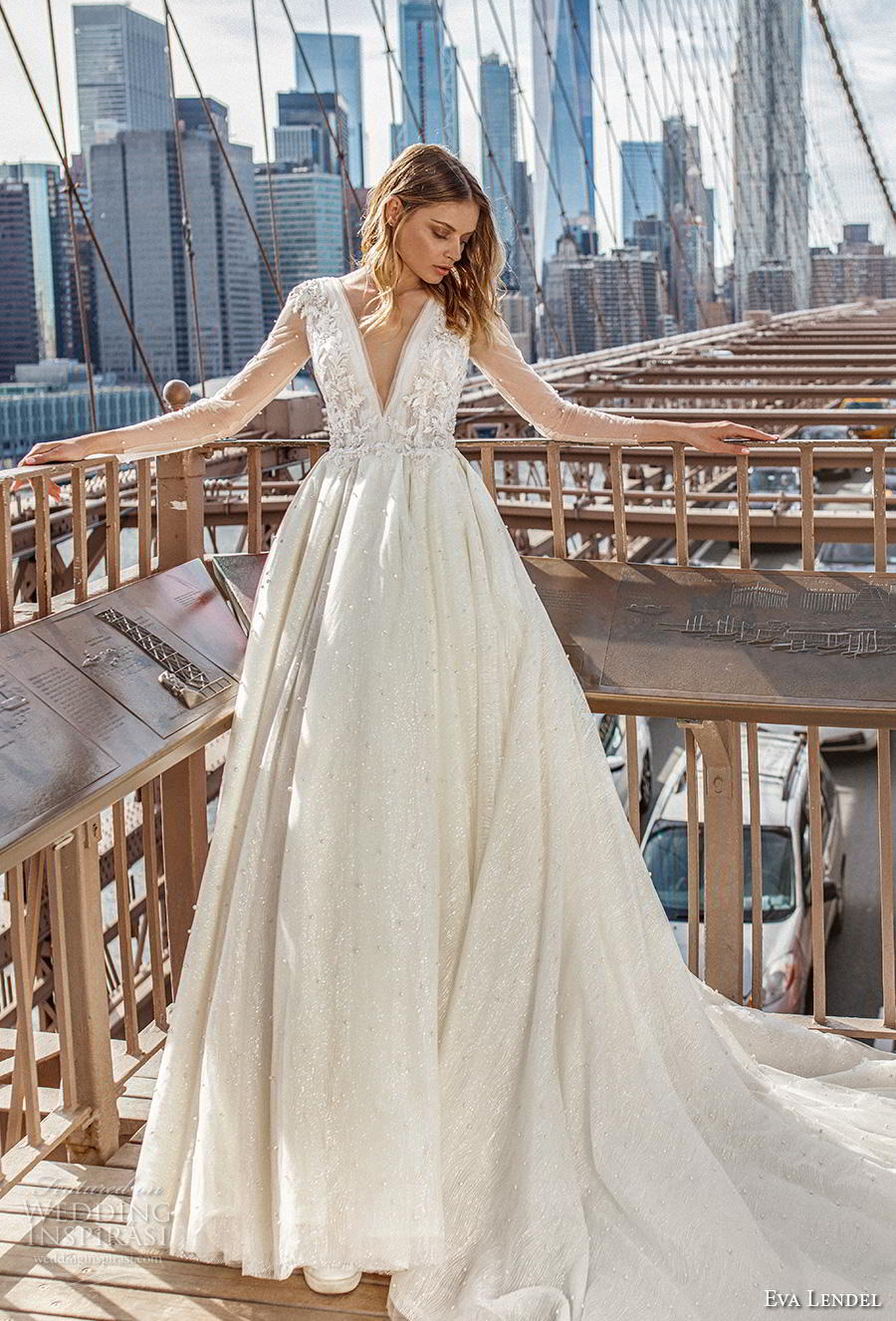 36e01768fbd eva lendel 2019 bridal sheer long sleeves deep v neck heavily embellished  bodice romantic ball gown