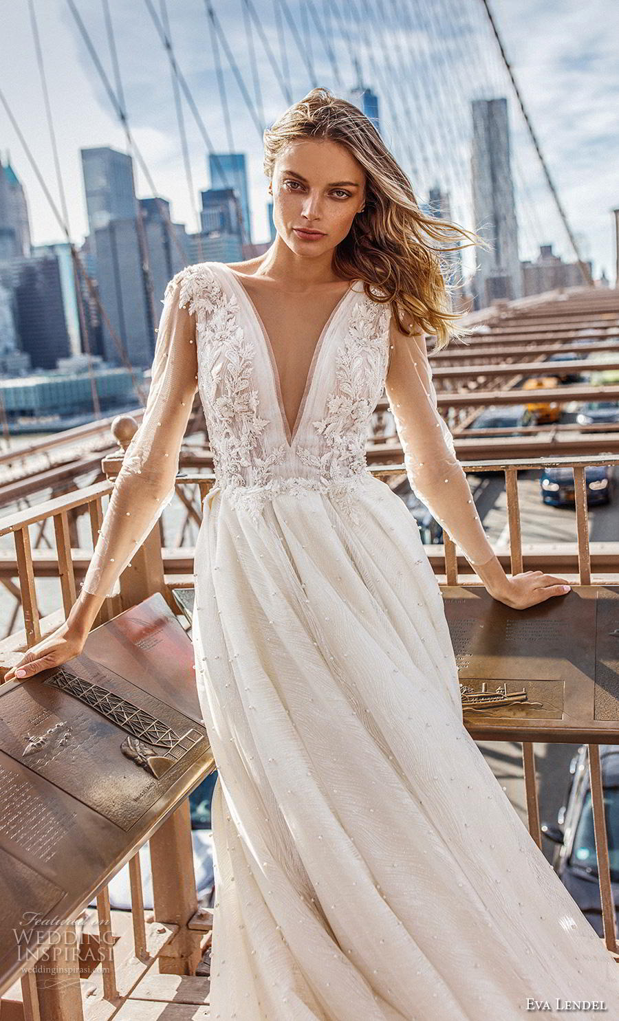 eva lendel 2019 bridal sheer long sleeves deep v neck heavily embellished bodice romantic ball gown a  line wedding dress backless v back long train (7) zv