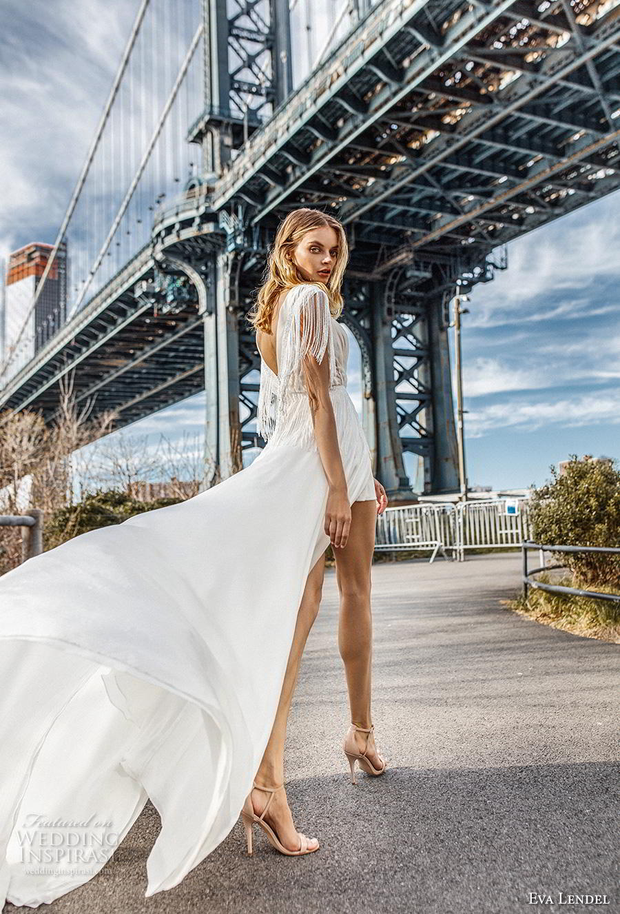 eva lendel 2019 bridal short fringe sleeves deep v neck pleated bodice slit skirt romantic modern soft a  line wedding dress backless v back chapel train (5) bv