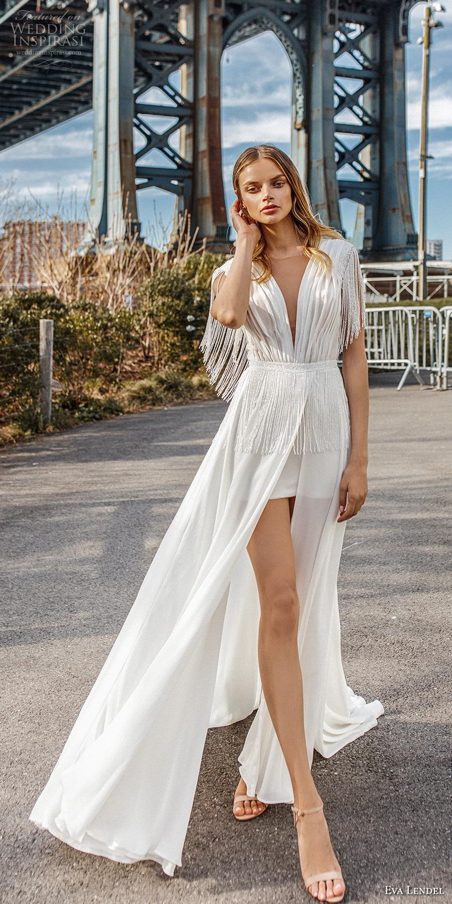 eva lendel 2019 bridal short fringe sleeves deep v neck pleated bodice slit skirt romantic modern soft a  line wedding dress backless v back chapel train (5) lv