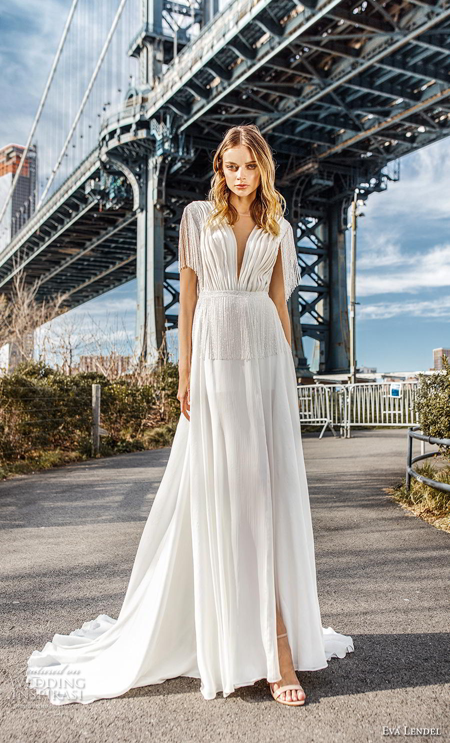 eva lendel 2019 bridal short fringe sleeves deep v neck pleated bodice slit skirt romantic modern soft a  line wedding dress backless v back chapel train (5) mv