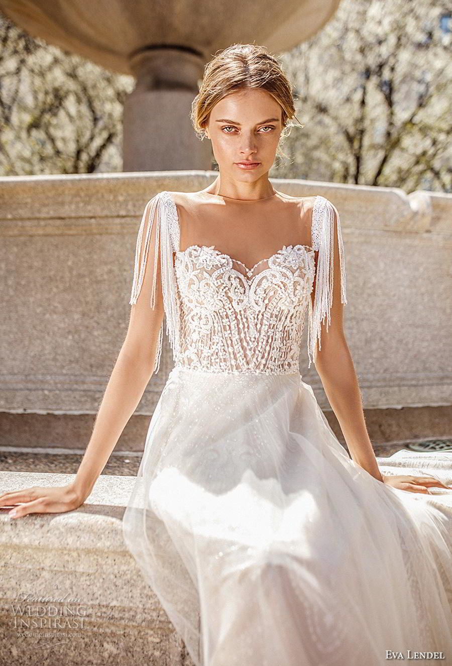 eva lendel 2019 bridal short fringe sleeves illusion jewel sweetheart neckline heavily embellished bodice romantic a  line wedding dress sheer back chapel train (9) zv
