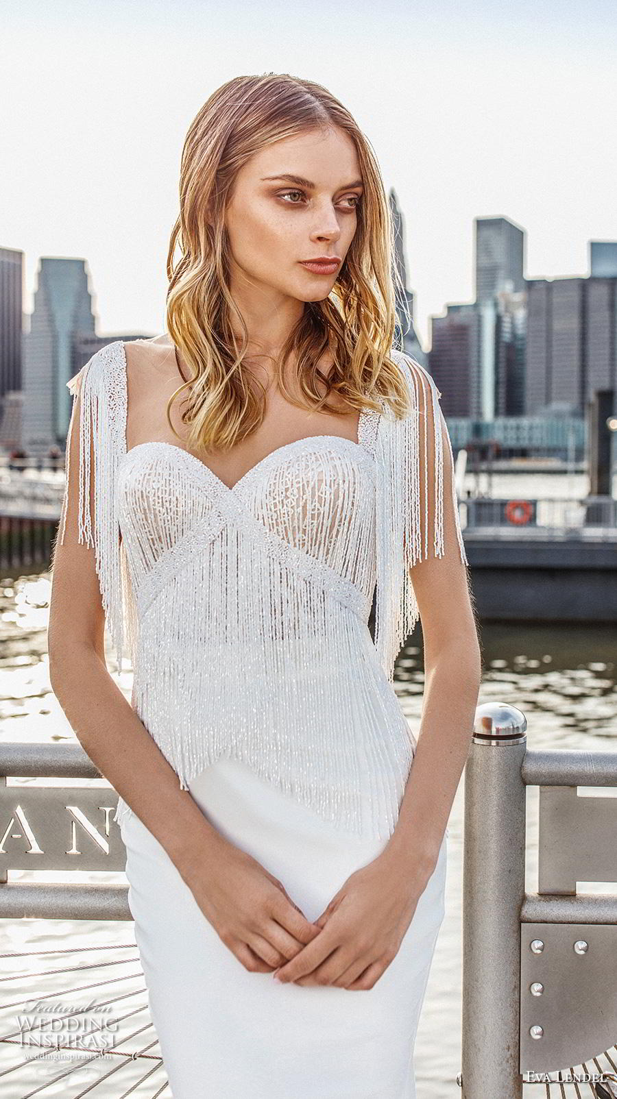 eva lendel 2019 bridal short fringe sleeves sweetheart neckline heavily embellished bodice elegant sheath fit and flare wedding dress chapel train (2) zv
