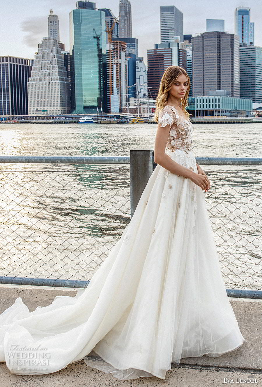 eva lendel 2019 bridal short sleeves heavily embellished bodice romantic a  line wedding dress backless scoop back chapel train (3) mv