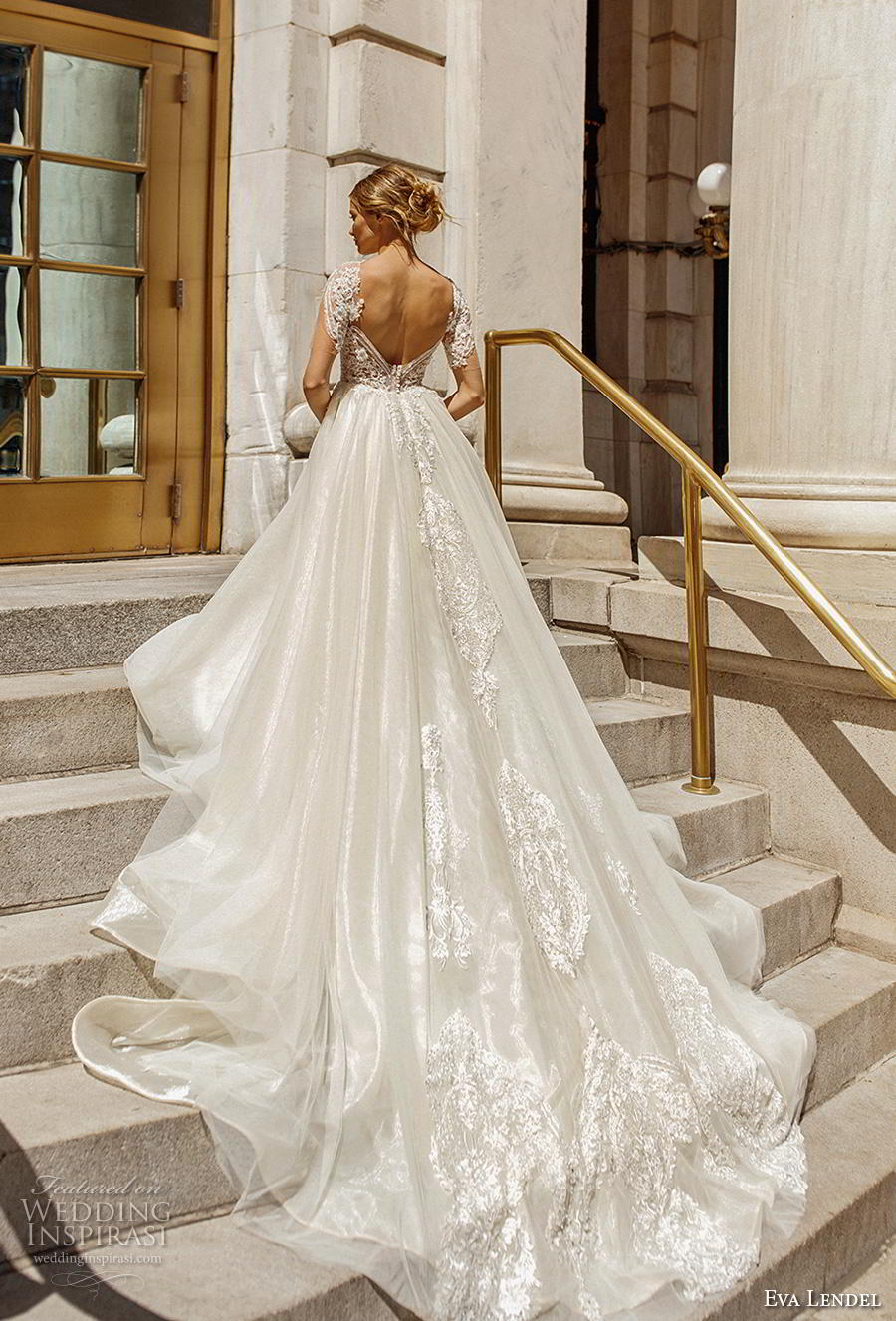 eva lendel 2019 bridal short sleeves sweetheart neckline heavily embellished bodice romantic glamorous a  line wedding dress backless v back royal train (11) bv
