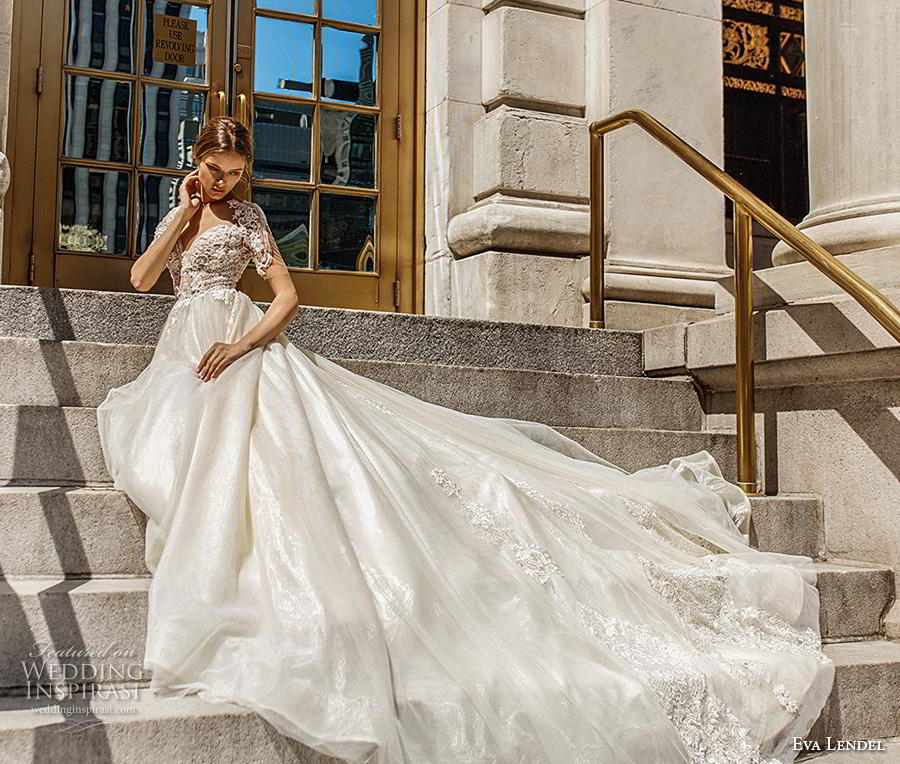 eva lendel 2019 bridal short sleeves sweetheart neckline heavily embellished bodice romantic glamorous a  line wedding dress backless v back royal train (11) mv