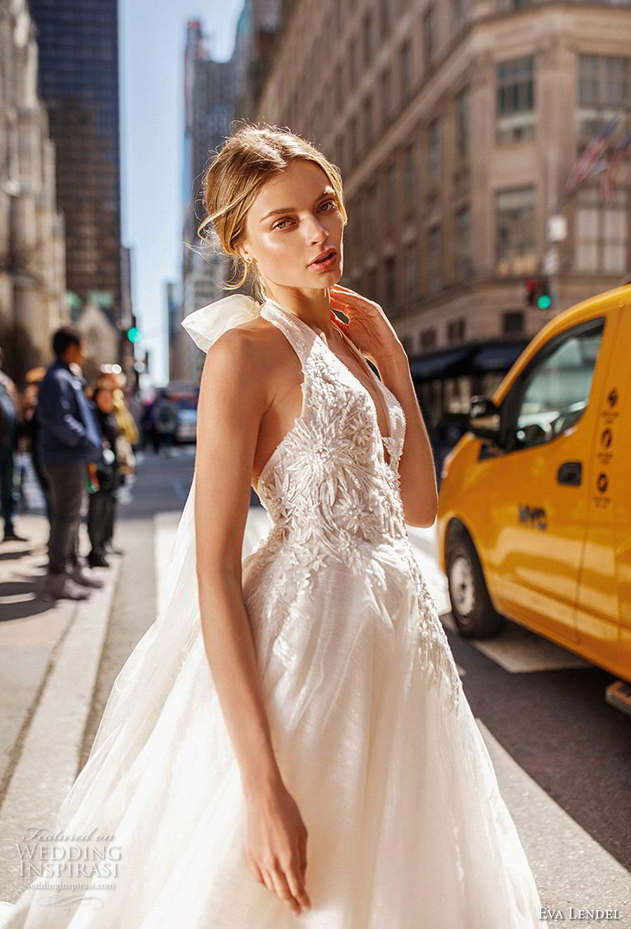 eva lendel 2019 bridal sleeveless halter neck deep v neck heavily embellished bodice romantic a  line wedding dress backless open back chapel train (12) zv