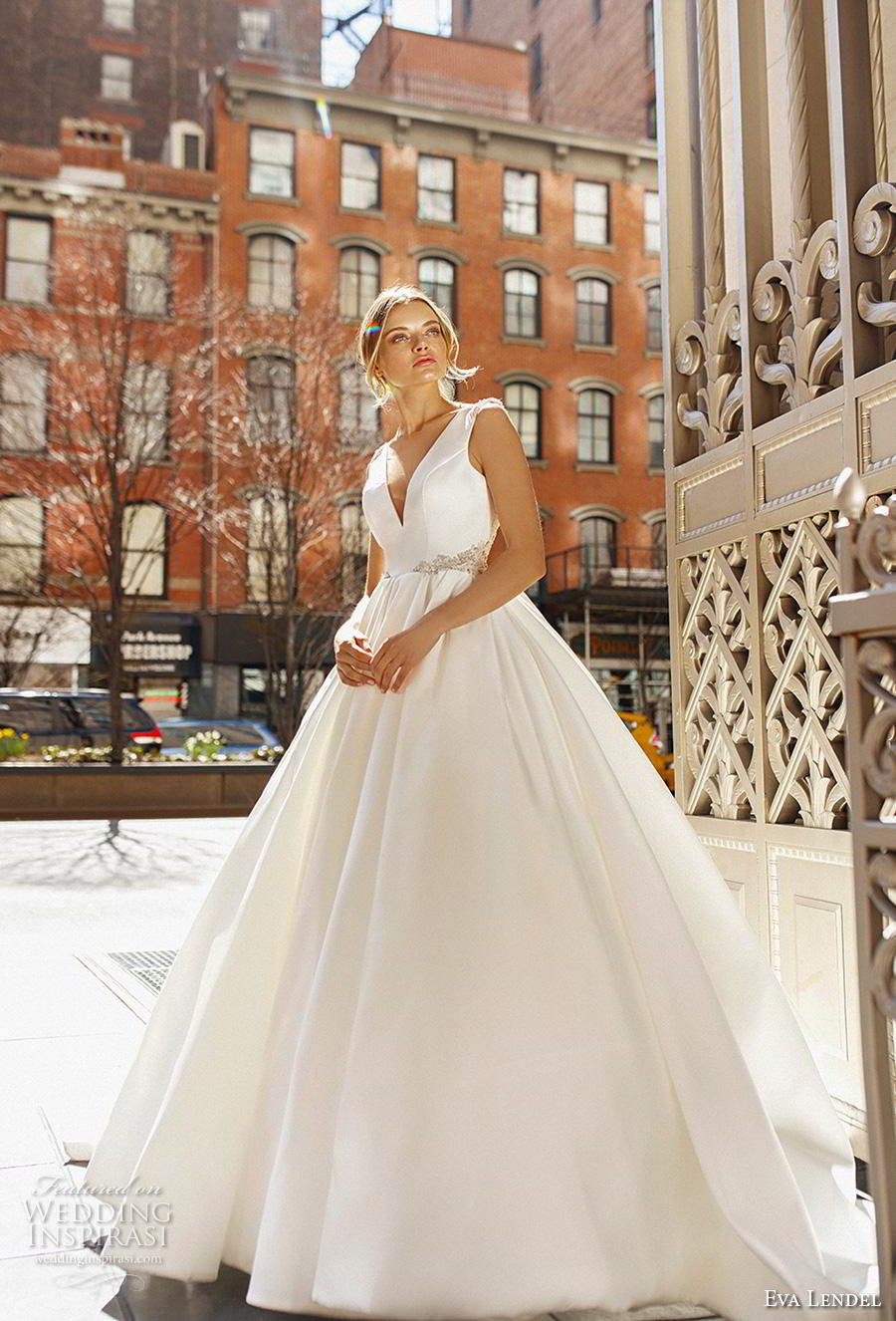 eva lendel 2019 bridal sleeveless with strap v neck simple minimalist princess ball gown a  line wedding dress backless open back (15) mv