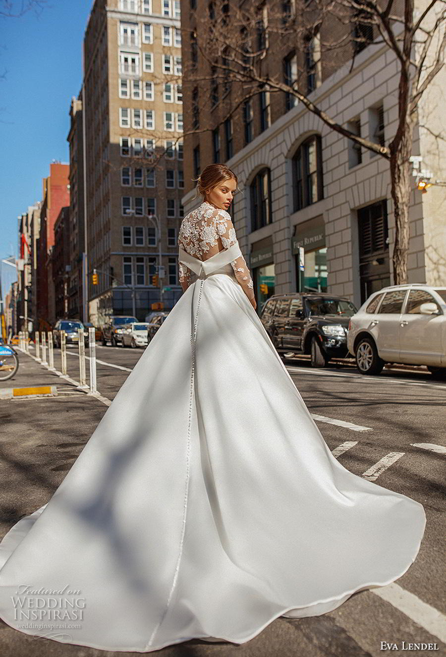 eva lendel 2019 bridal three quarter sleeves illusion high neck heavily embellished bodice elegant a  line wedding dress lace back chapel train (13) bv