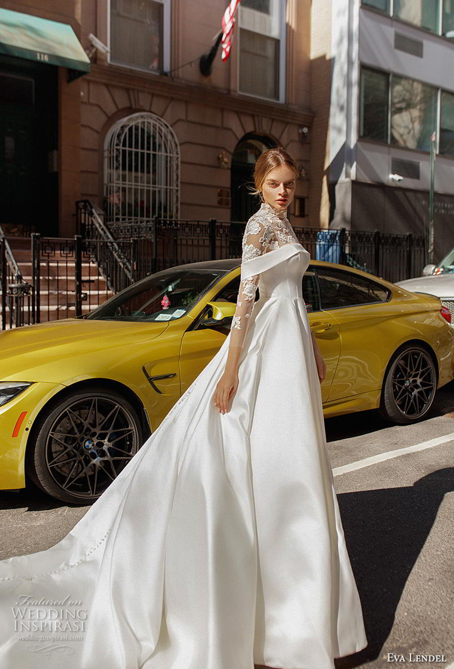 eva lendel 2019 bridal three quarter sleeves illusion high neck heavily embellished bodice elegant a  line wedding dress lace back chapel train (13) mv