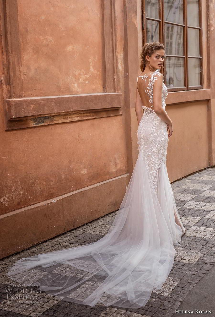helena kolan 2019 bridal cap sleeves deep plunging sweetheart neckline full embellishment elegant sheath fit and flare wedding dress sheer back chapel train (12) bv