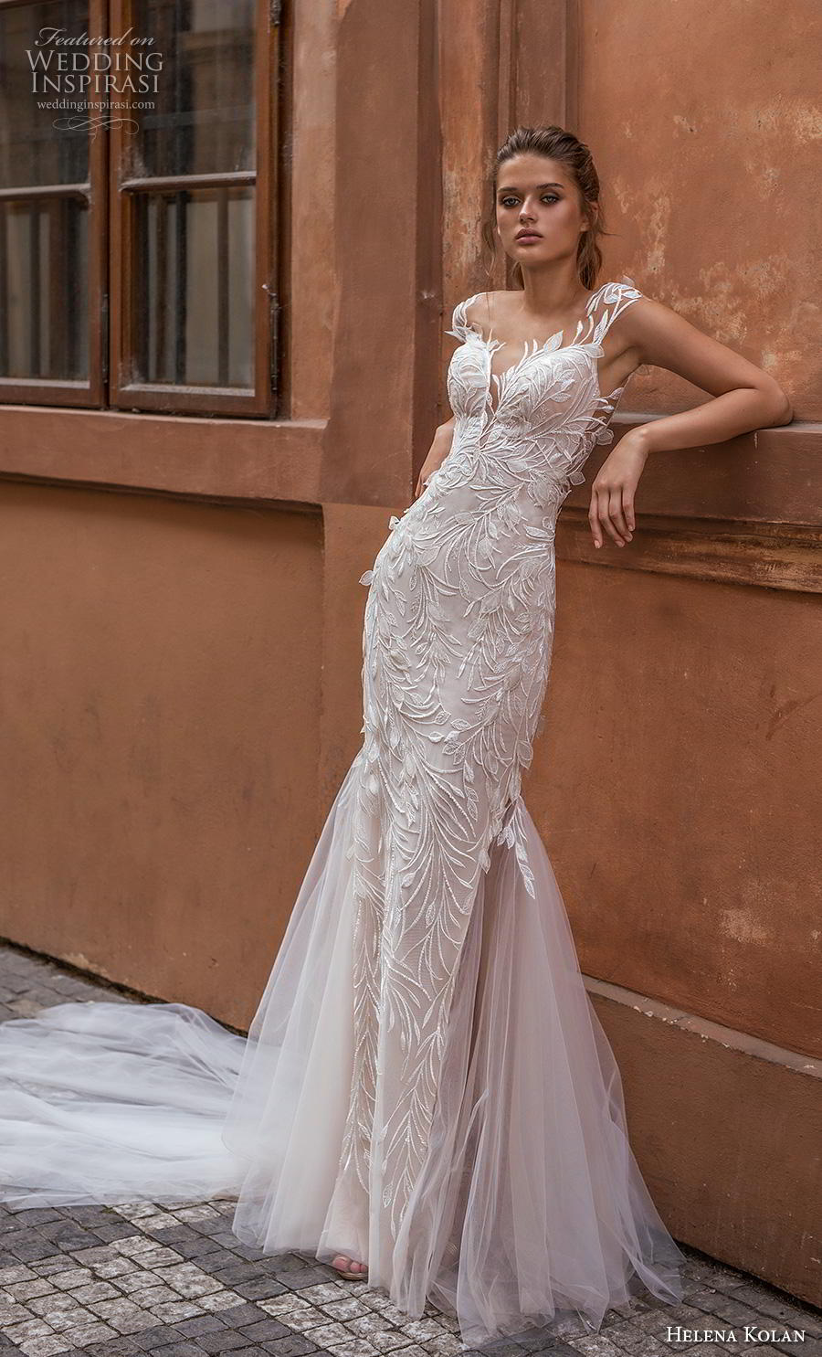 helena kolan 2019 bridal cap sleeves deep plunging sweetheart neckline full embellishment elegant sheath fit and flare wedding dress sheer back chapel train (12) mv