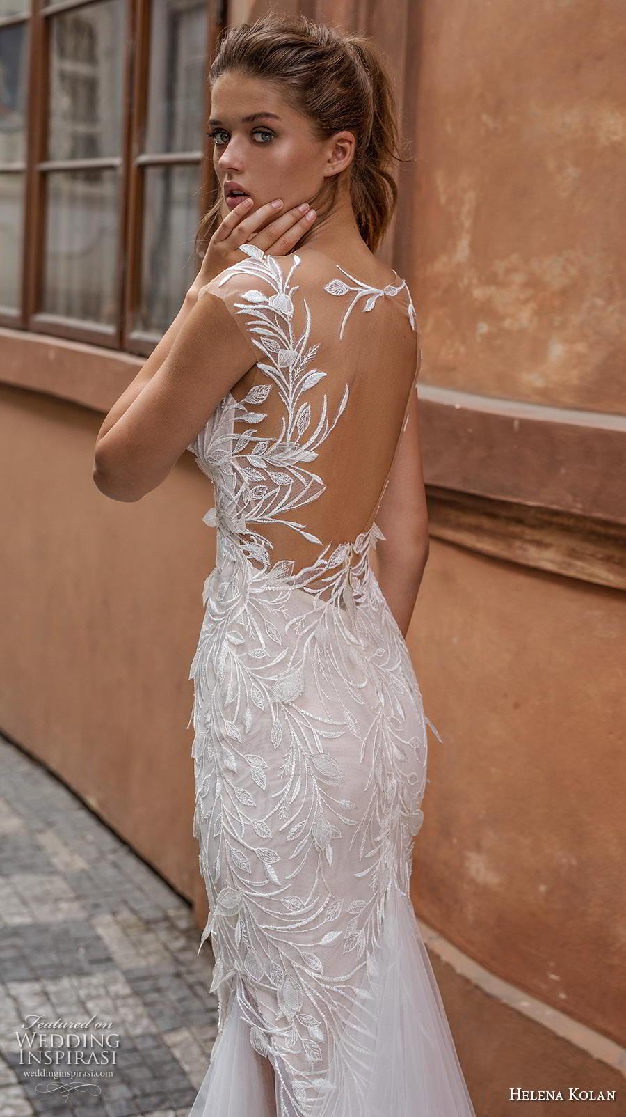 helena kolan 2019 bridal cap sleeves deep plunging sweetheart neckline full embellishment elegant sheath fit and flare wedding dress sheer back chapel train (12) zbv