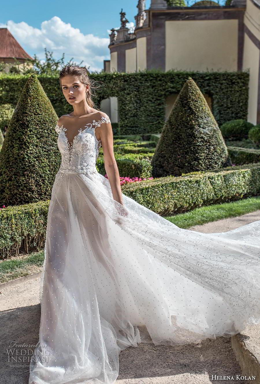helena kolan 2019 bridal cap sleeves deep plunging sweetheart neckline heavily embellished bodice romantic soft a  line wedding dress sheer button chapel train (2) mv
