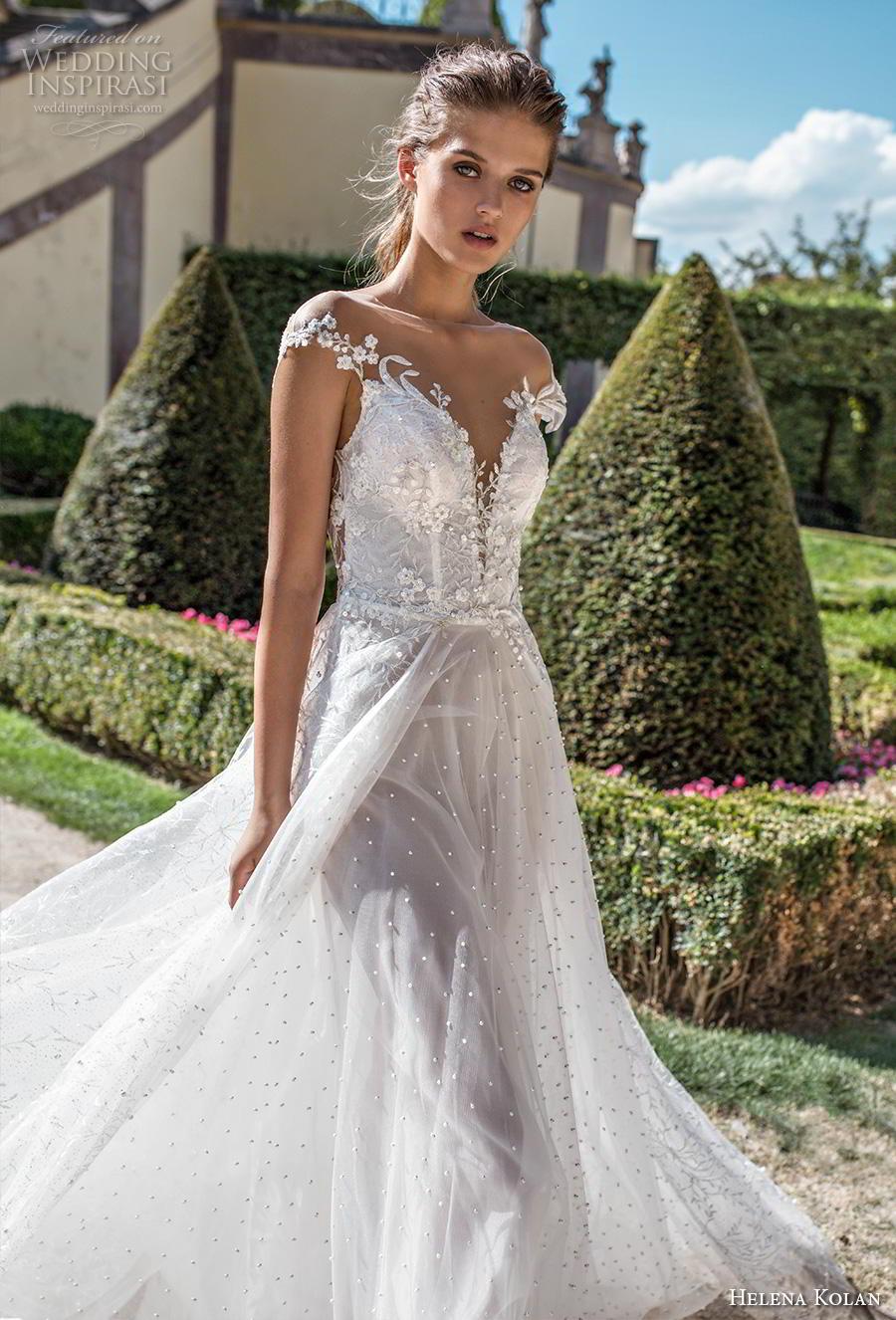 helena kolan 2019 bridal cap sleeves deep plunging sweetheart neckline heavily embellished bodice romantic soft a  line wedding dress sheer button chapel train (2) zv