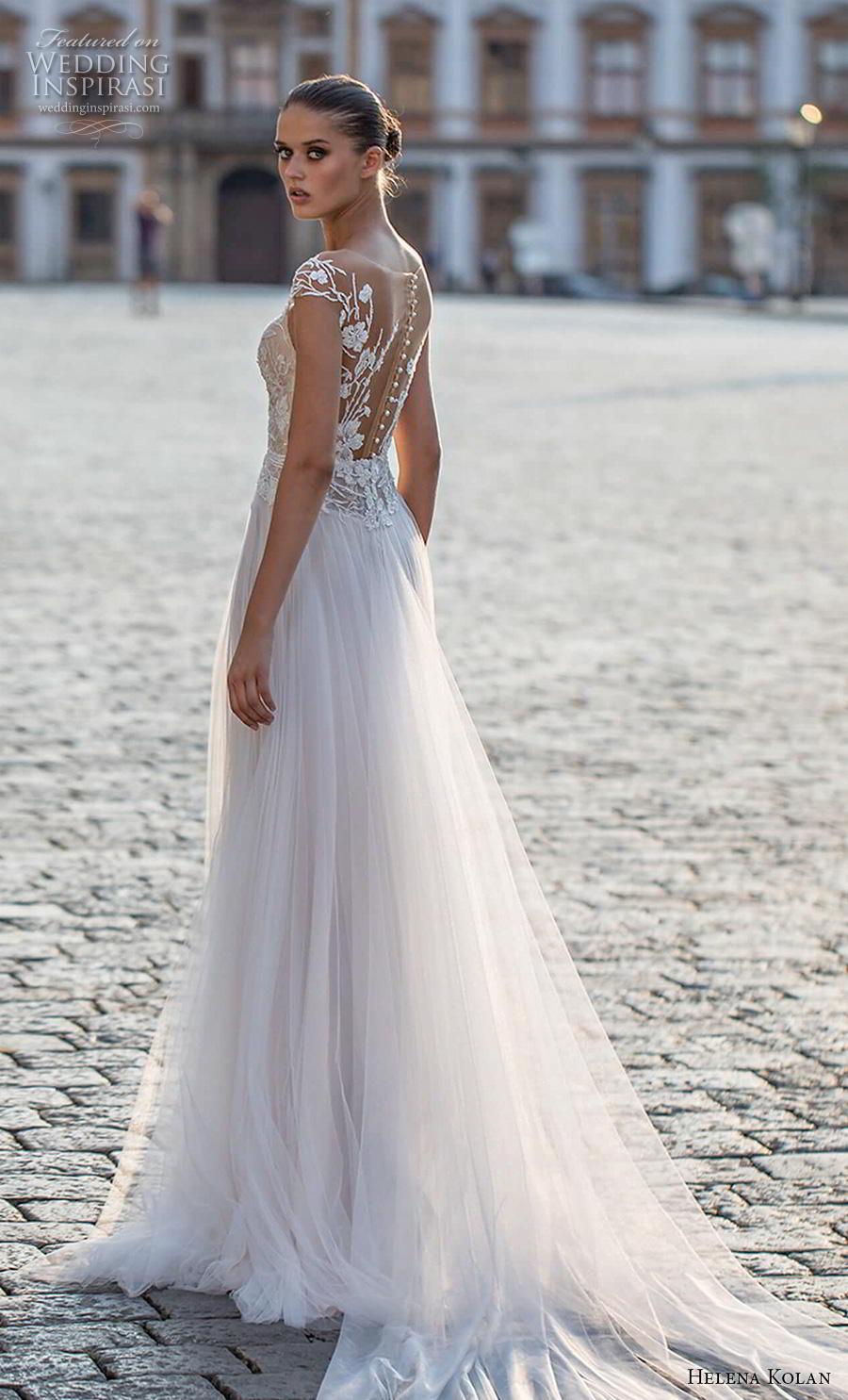 helena kolan 2019 bridal cap sleeves deep plunging sweetheart neckline heavily embellished bodice slit skirt romantic a  line wedding dress sheer button back chapel train (7) bv