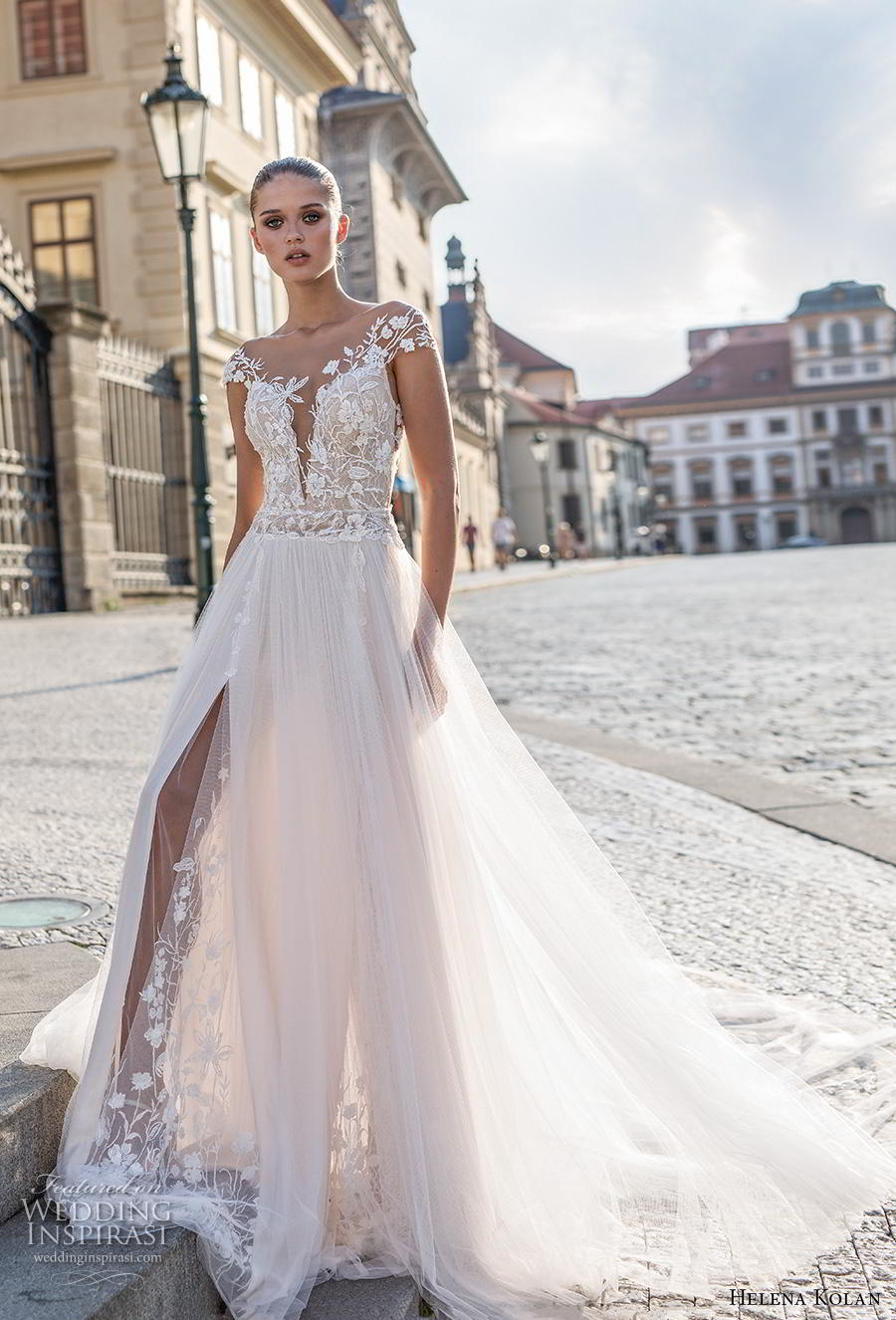helena kolan 2019 bridal cap sleeves deep plunging sweetheart neckline heavily embellished bodice slit skirt romantic a  line wedding dress sheer button back chapel train (7) mv