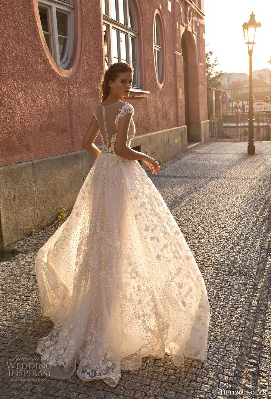 helena kolan 2019 bridal cap sleeves illusion bateau deep plunging sweetheart neckline full embellishment romantic soft a  line wedding dress sheer button back sweep train (5) bv