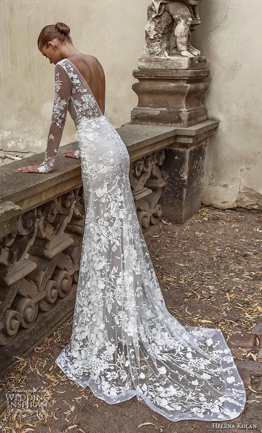helena kolan 2019 bridal long sleeves v neck full embellishment elegant drop waist a  line wedding dress backless v back medium train (15) bv