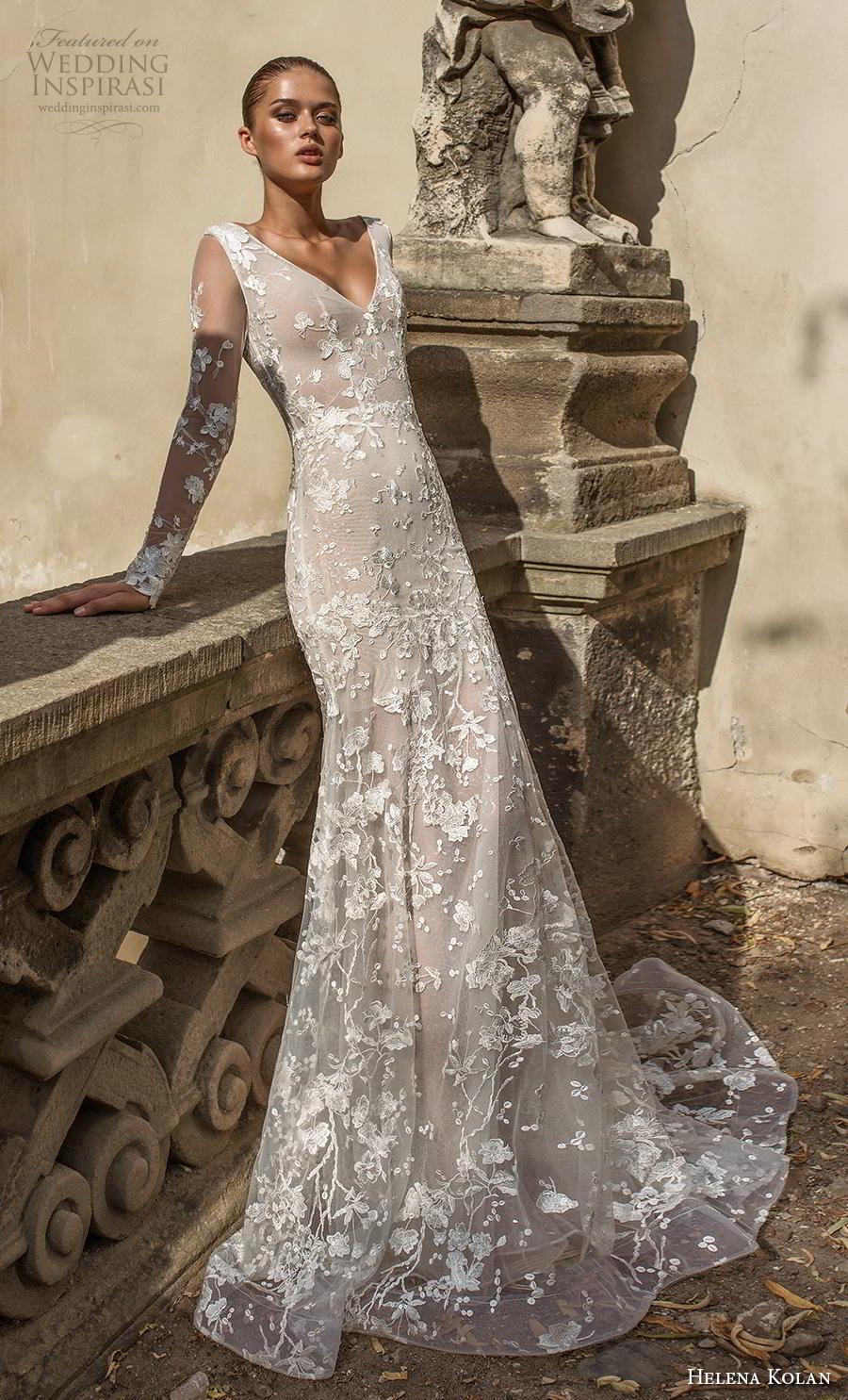 helena kolan 2019 bridal long sleeves v neck full embellishment elegant drop waist a  line wedding dress backless v back medium train (15) mv