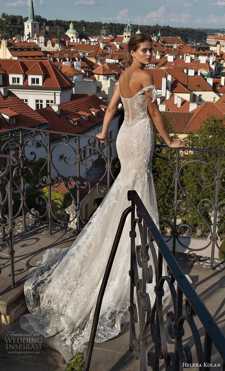 helena kolan 2019 bridal off the shoulder sweetheart neckline full embellishment bustier sexy elegant mermaid wedding dress chapel train (9) bv