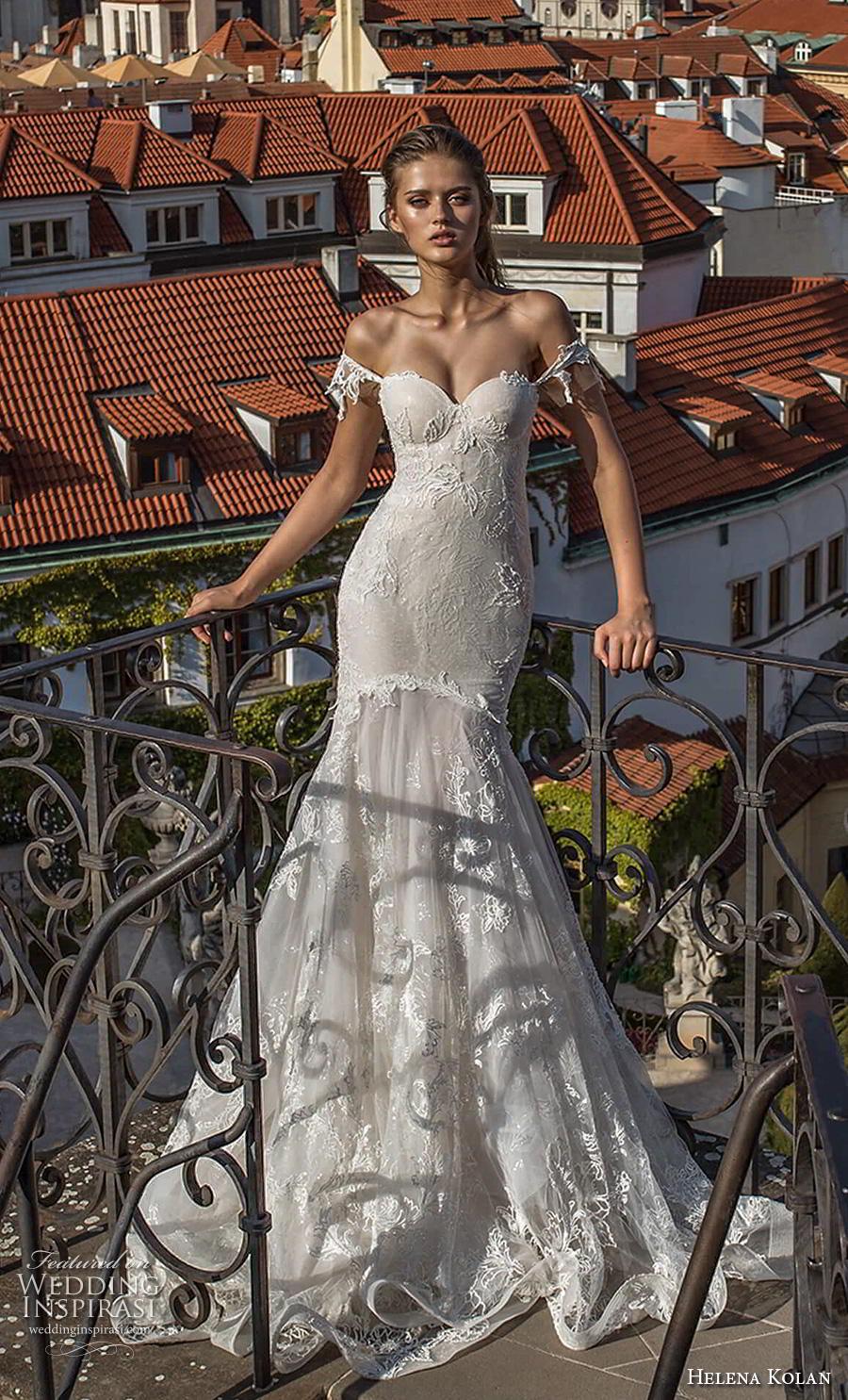 helena kolan 2019 bridal off the shoulder sweetheart neckline full embellishment bustier sexy elegant mermaid wedding dress chapel train (9) mv