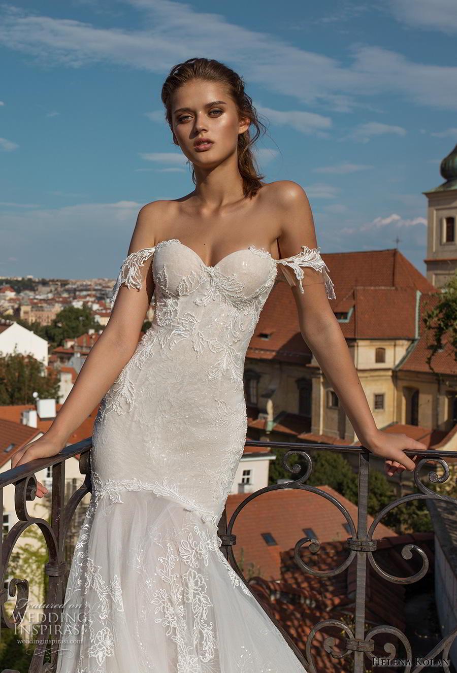 helena kolan 2019 bridal off the shoulder sweetheart neckline full embellishment bustier sexy elegant mermaid wedding dress chapel train (9) zv