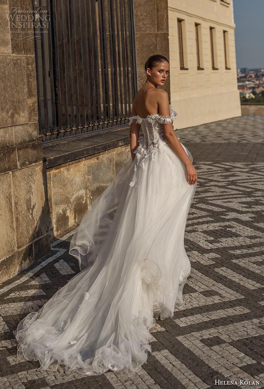 helena kolan 2019 bridal off the shoulder sweetheart neckline heavily embellished bodice bustier slit skirt romantic a  line wedding dress chapel train (4) bv