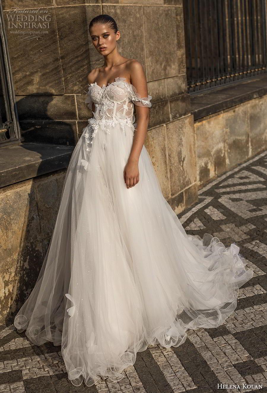 helena kolan 2019 bridal off the shoulder sweetheart neckline heavily embellished bodice bustier slit skirt romantic a  line wedding dress chapel train (4) mv