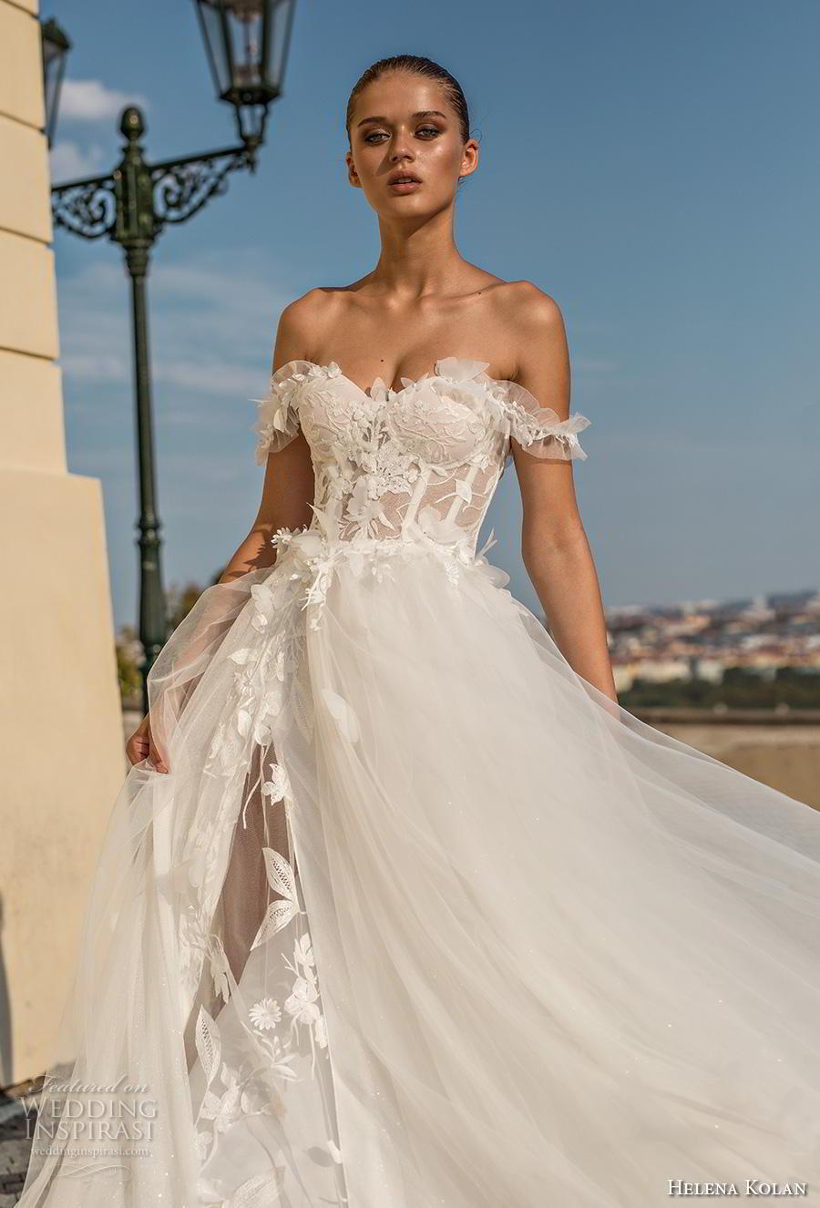 helena kolan 2019 bridal off the shoulder sweetheart neckline heavily embellished bodice bustier slit skirt romantic a  line wedding dress chapel train (4) zv
