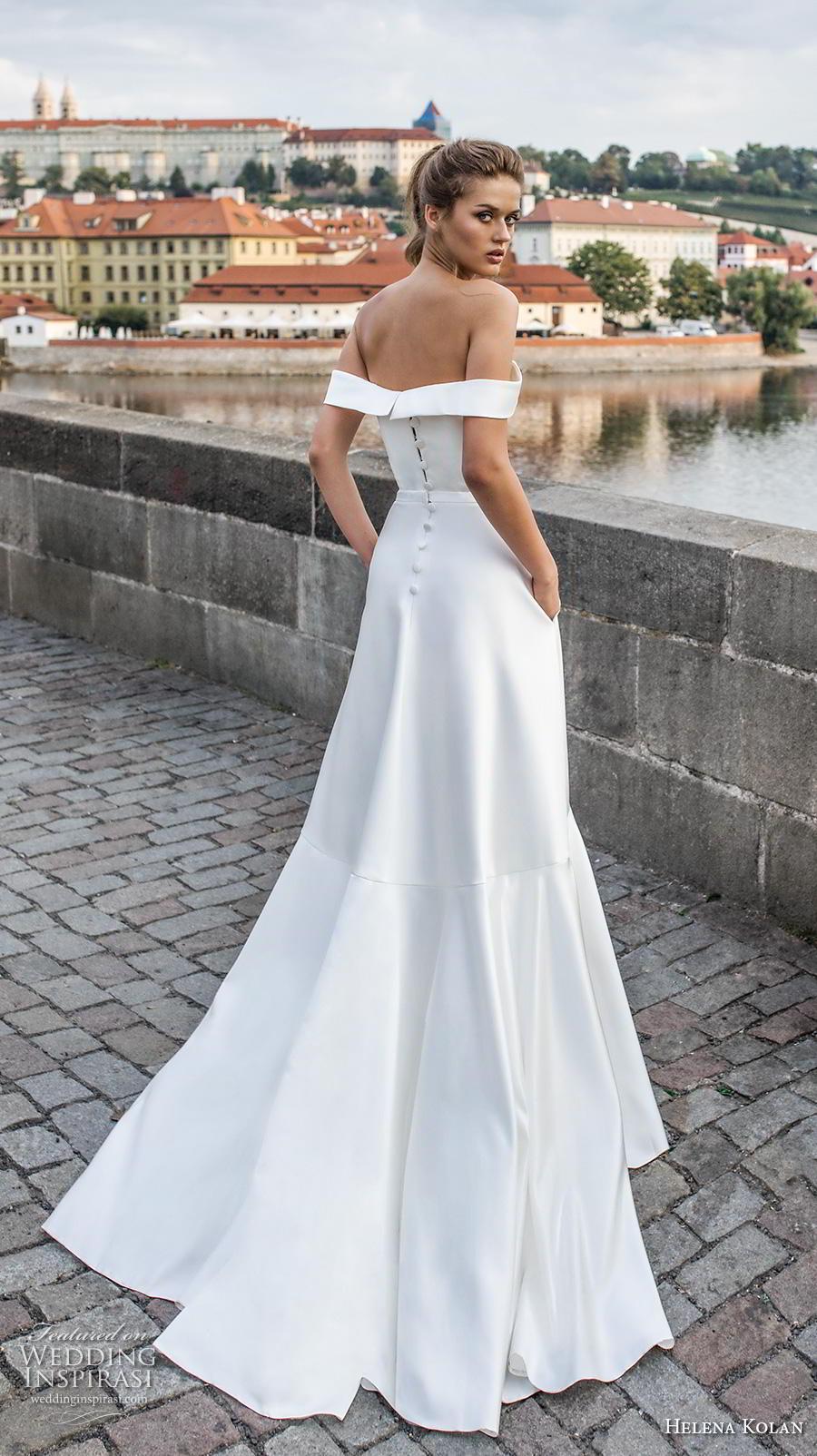 helena kolan 2019 bridal off the shoulder sweetheart neckline simple clean slit skirt minimalist elegant a  line wedding dress pockets sweep train (8) bv