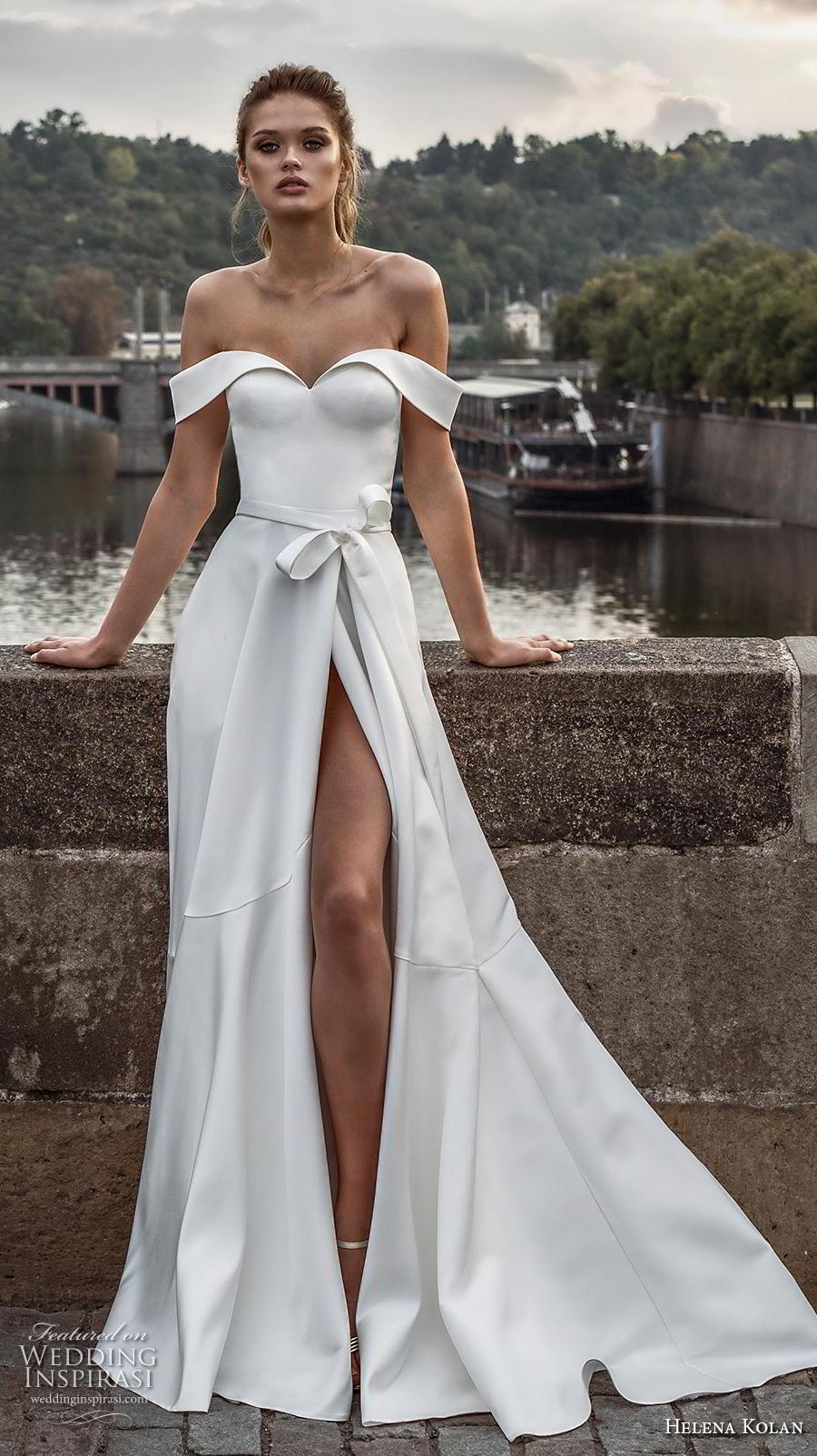helena kolan 2019 bridal off the shoulder sweetheart neckline simple clean slit skirt minimalist elegant a  line wedding dress pockets sweep train (8) mv