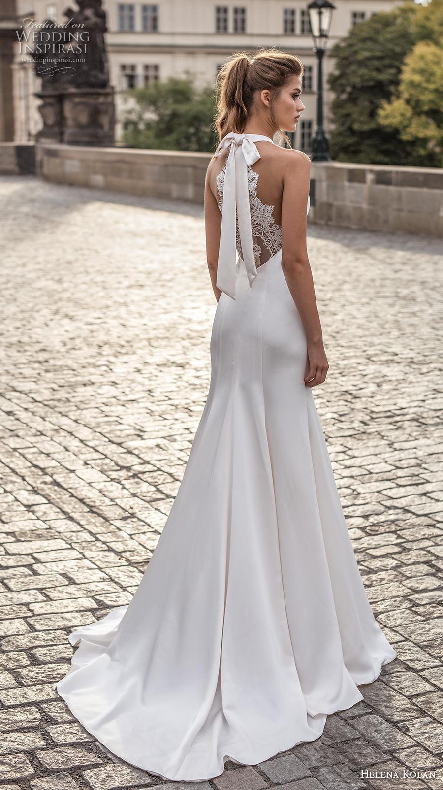 helena kolan 2019 bridal sleeveless halter neck simple clean minimalist elegant drop waist modified a  line wedding dress rasor back medium train (16) bv