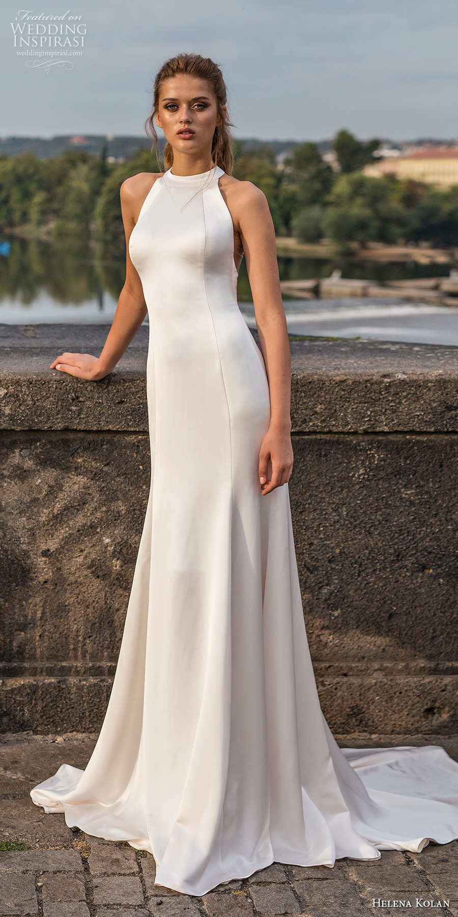 helena kolan 2019 bridal sleeveless halter neck simple clean minimalist elegant drop waist modified a  line wedding dress rasor back medium train (16) mv
