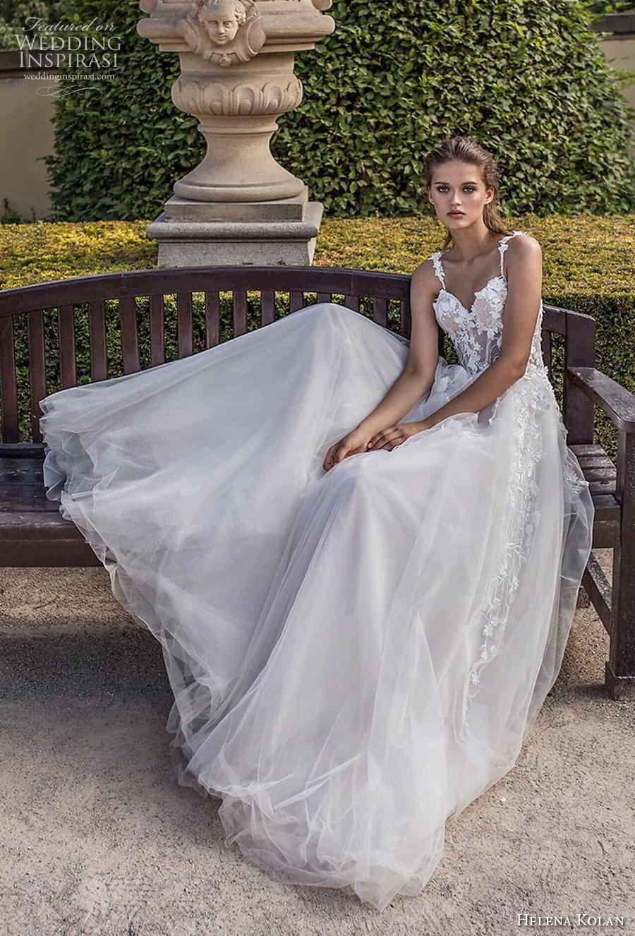 helena kolan 2019 bridal sleeveless thin strap sweetheart neckline bustier heavily embellished bodice romantic a  line wedding dress sweep train (14) mv
