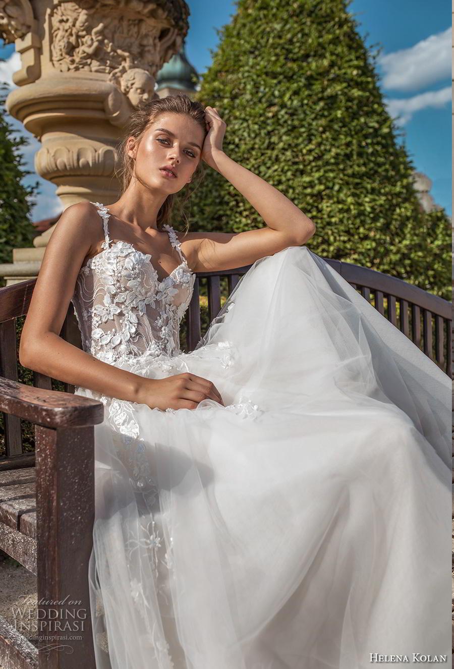 helena kolan 2019 bridal sleeveless thin strap sweetheart neckline bustier heavily embellished bodice romantic a  line wedding dress sweep train (14) zv