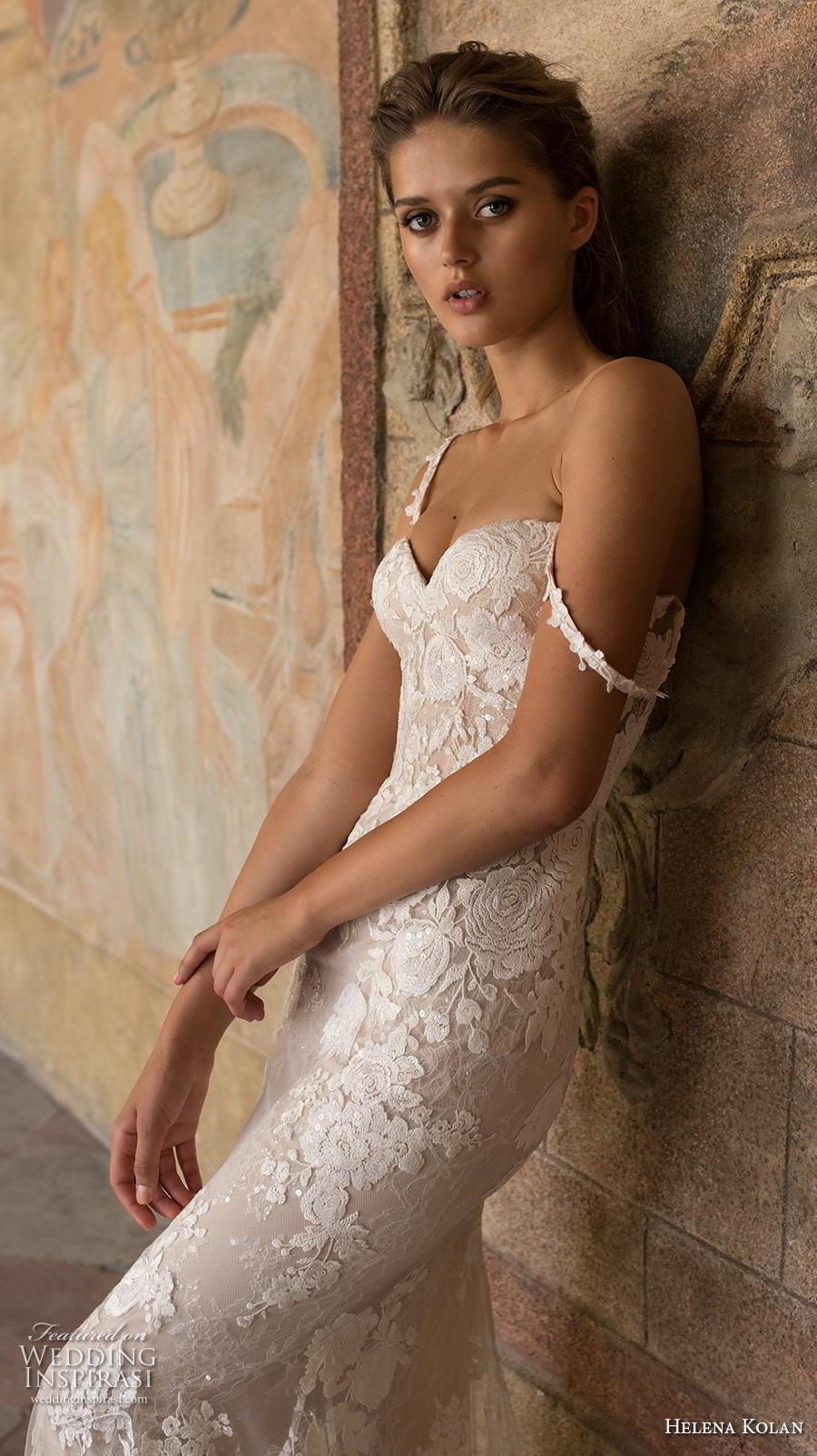 helena kolan 2019 bridal sleeveless thin strap sweetheart neckline full embellishment elegant  fit and flare wedding dress sweep train (11) zv