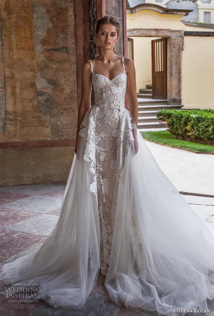 helena kolan 2019 bridal sleeveless thin strap sweetheart neckline full embellishment romantic princess fit and flare wedding dress a  line overskirt sweep train (11) mv